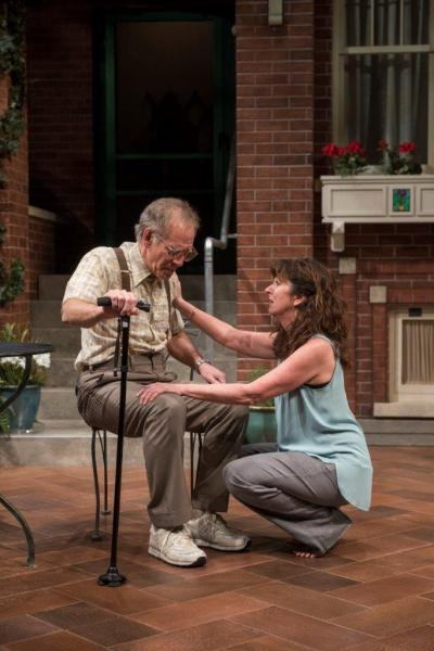 Elaine Rivkin and Mark Jacoby in One House Over. Photo by Michael Brosilow